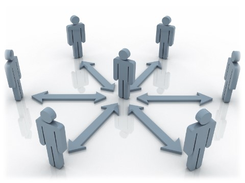 A person in the center with 6 double sided arrows pointing to other people standing in a circle