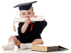 Baby in graduating clothing